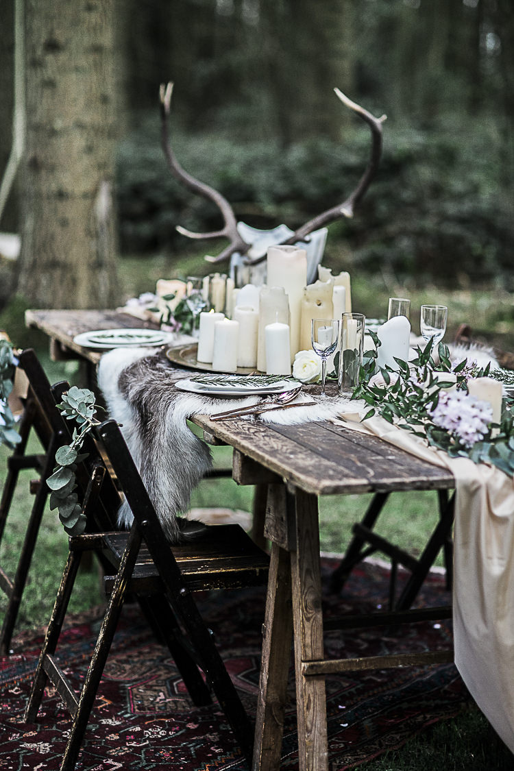 Rustic Wooden Decor Table Scape Chairs Bohemian Macramé Woodland Wedding Ideas https://samieleephotography.com/