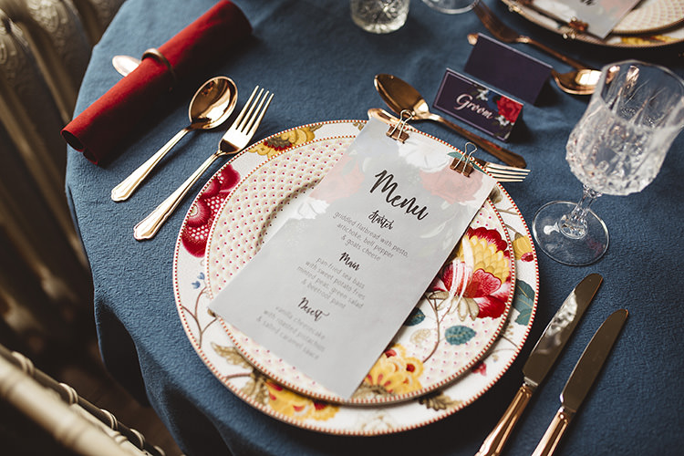 Place Setting Floral Stationery Menu Dutch Masters Wedding Inspiration https://www.kindredphotography.co.uk/