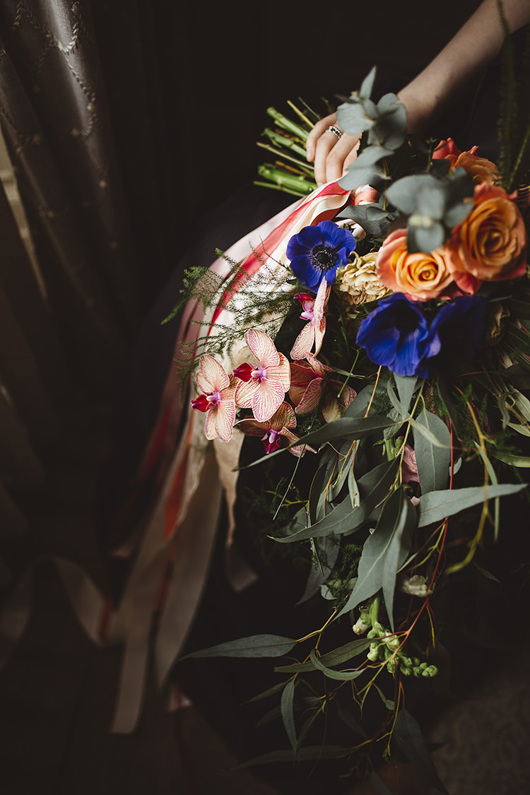 Ribbon Bouquet Orchid Bride Bridal Flowers Dutch Masters Wedding Inspiration https://www.kindredphotography.co.uk/