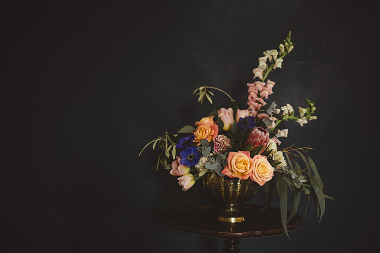 Asymmetrical Urn Flowers Peach Protea Rose Tall Dutch Masters Wedding Inspiration https://www.kindredphotography.co.uk/