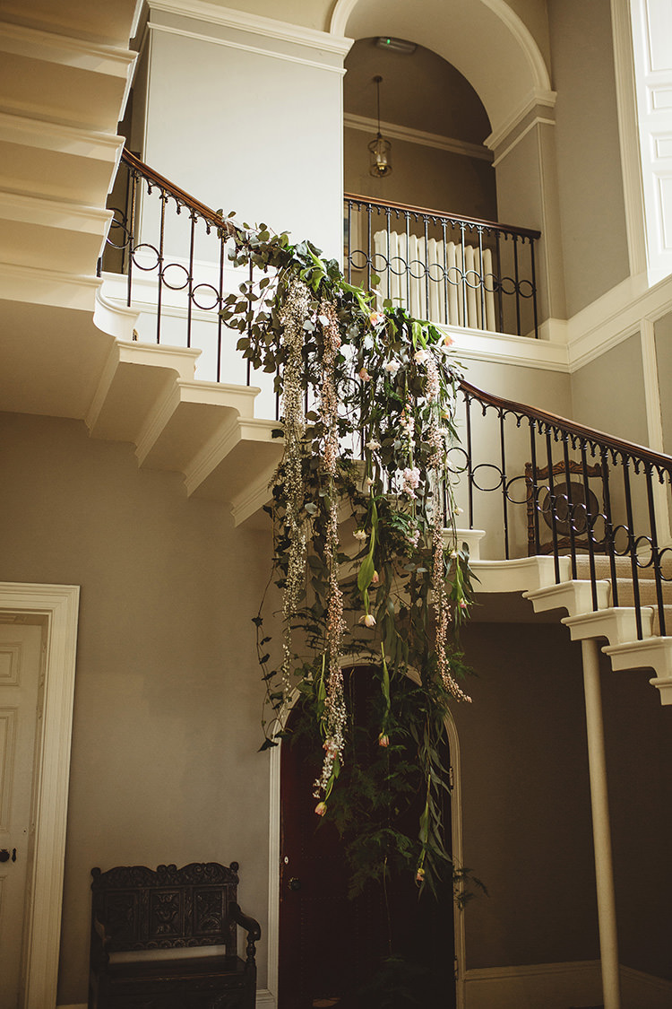 Stair Case Flowers Hanging Foliage Greenery Dutch Masters Wedding Inspiration https://www.kindredphotography.co.uk/