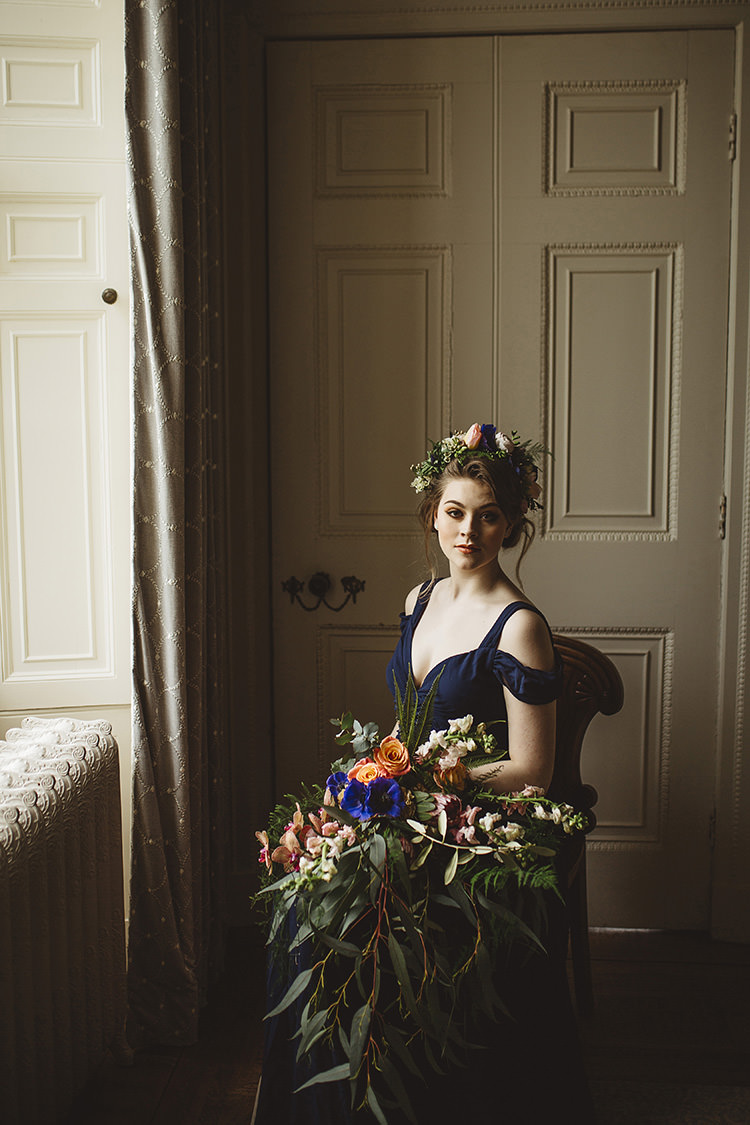 Off Shoulder Navy Blue Bride Bridal Gown Dress Dutch Masters Wedding Inspiration https://www.kindredphotography.co.uk/