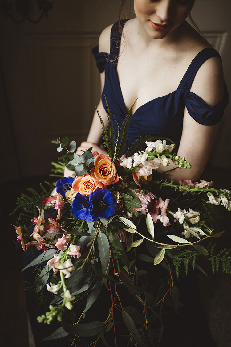 Large Bouquet Rose Orchid Fern Peach Blue Bride Bridal Dutch Masters Wedding Inspiration https://www.kindredphotography.co.uk/