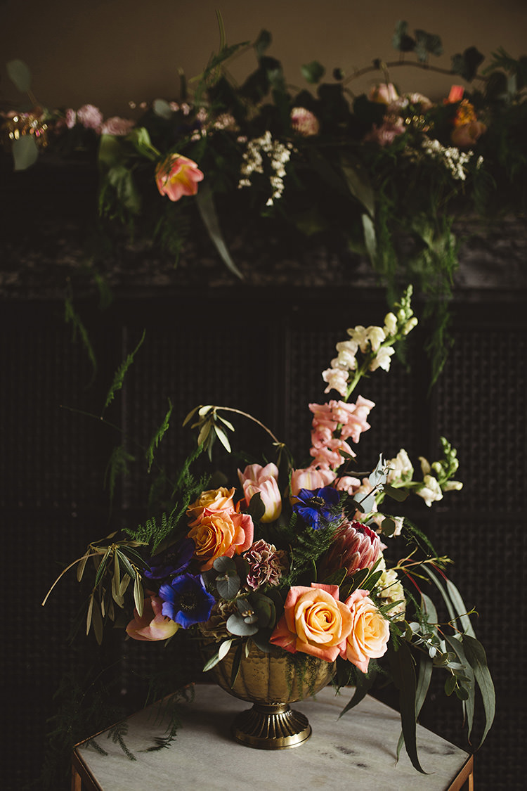 Asymmetrical Gold Urn Flowers Peach Pink Green Blue Dutch Masters Wedding Inspiration https://www.kindredphotography.co.uk/