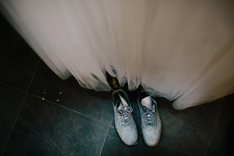 Glitter DMs Shoes Bride Bridal Indie Outdoorsy Cowshed DIY Wedding http://www.danhoughphoto.com/