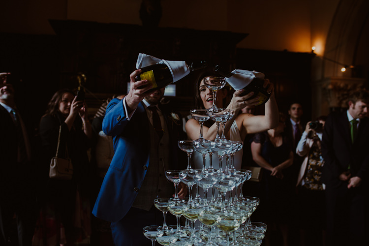 Champagne Coupe Tower 1920s Speakeasy Country House Glamour Wedding https://www.bearscollective.com/