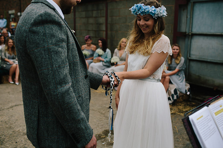 Handfasting Humanist Ceremony Indie Outdoorsy Cowshed DIY Wedding http://www.danhoughphoto.com/