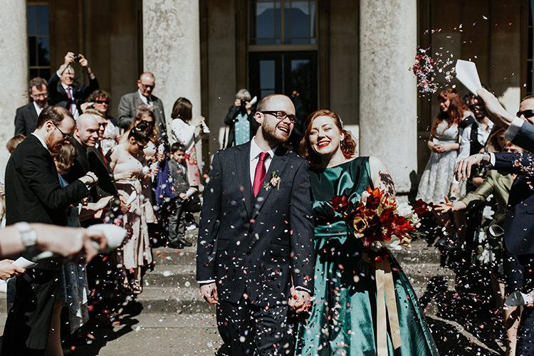 Confetti Throw Bride Groom All The Colours Quirky Dinosaur Wedding https://leahlombardi.com/