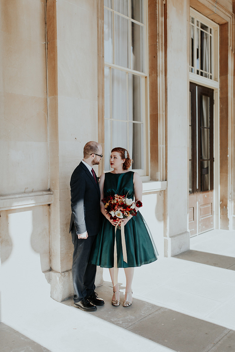 Short Emerald Green Dress Bride Bridal Gown All The Colours Quirky Dinosaur Wedding https://leahlombardi.com/