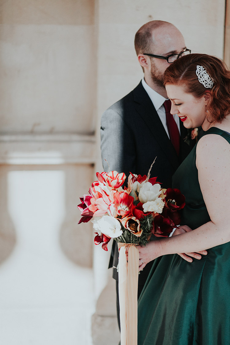 Red Tulip Bouquet Flowers Bride Bridal Ribbon All The Colours Quirky Dinosaur Wedding https://leahlombardi.com/