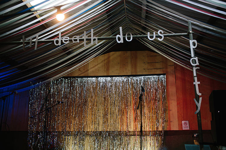 Til Death Do Us Party Sign Stage Decor Backdrop Indie Outdoorsy Cowshed DIY Wedding http://www.danhoughphoto.com/
