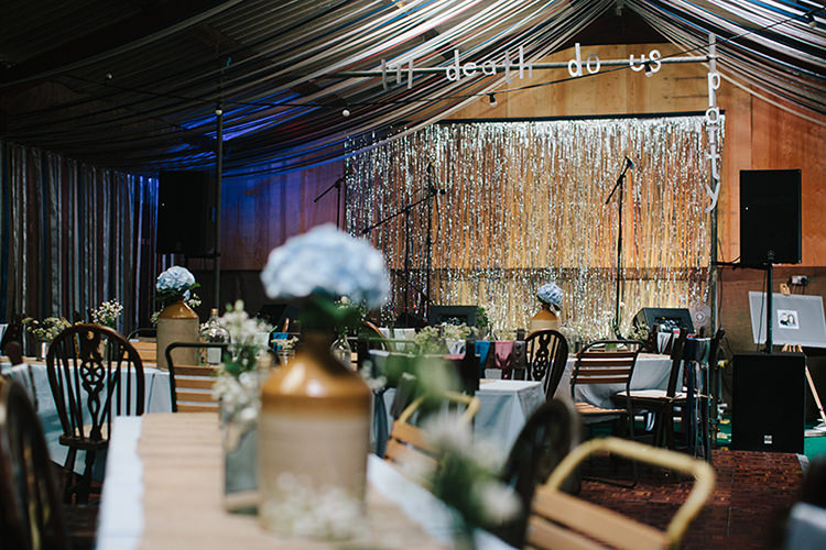 Barn Decor Ribbons Ceiling Streamers Backdrop Indie Outdoorsy Cowshed DIY Wedding http://www.danhoughphoto.com/