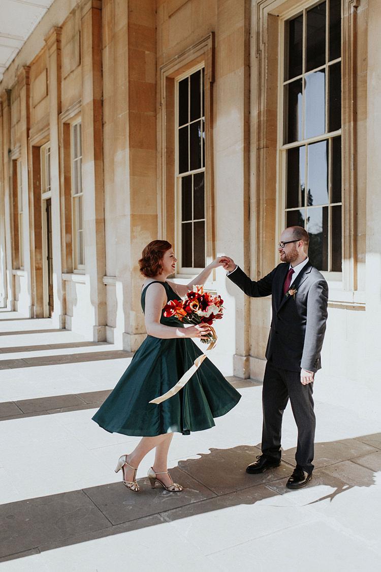 Short Emerald Green Dress Bride Bridal Gown All The Colours Quirky Dinosaur Wedding https://leahlombardi.com/