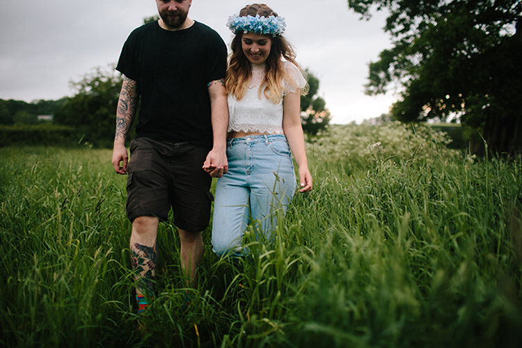 Bride Jeans Top Groom T Shorts Indie Outdoorsy Cowshed DIY Wedding http://www.danhoughphoto.com/