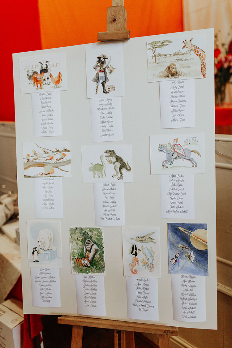Watercolour Table Plan Seating Chart All The Colours Quirky Dinosaur Wedding https://leahlombardi.com/