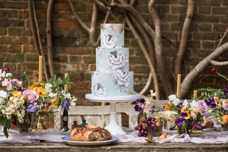 Floral Cake Pale Blue Silver Metallic Table Flowers First Look Wedding Ideas Country Estate Garden http://annamorganphotography.co.uk/