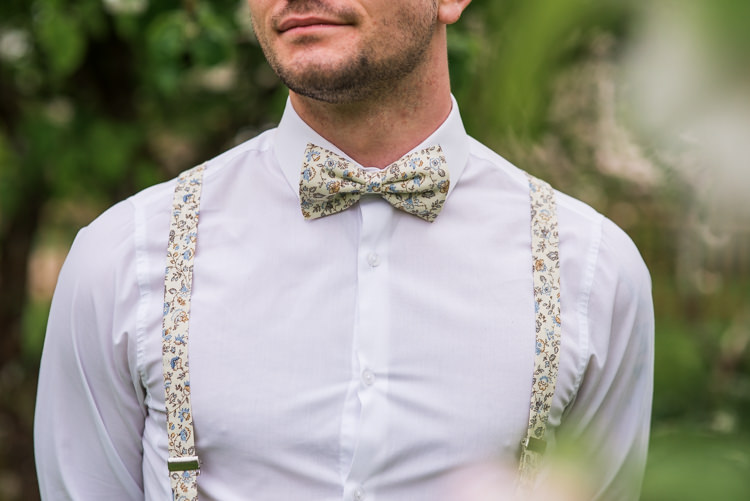 Print Bow Tie Braces Groom Style Outfit Attire First Look Wedding Ideas Country Estate Garden http://annamorganphotography.co.uk/