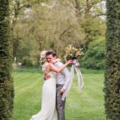 First Look Wedding Ideas in a Country Estate Garden