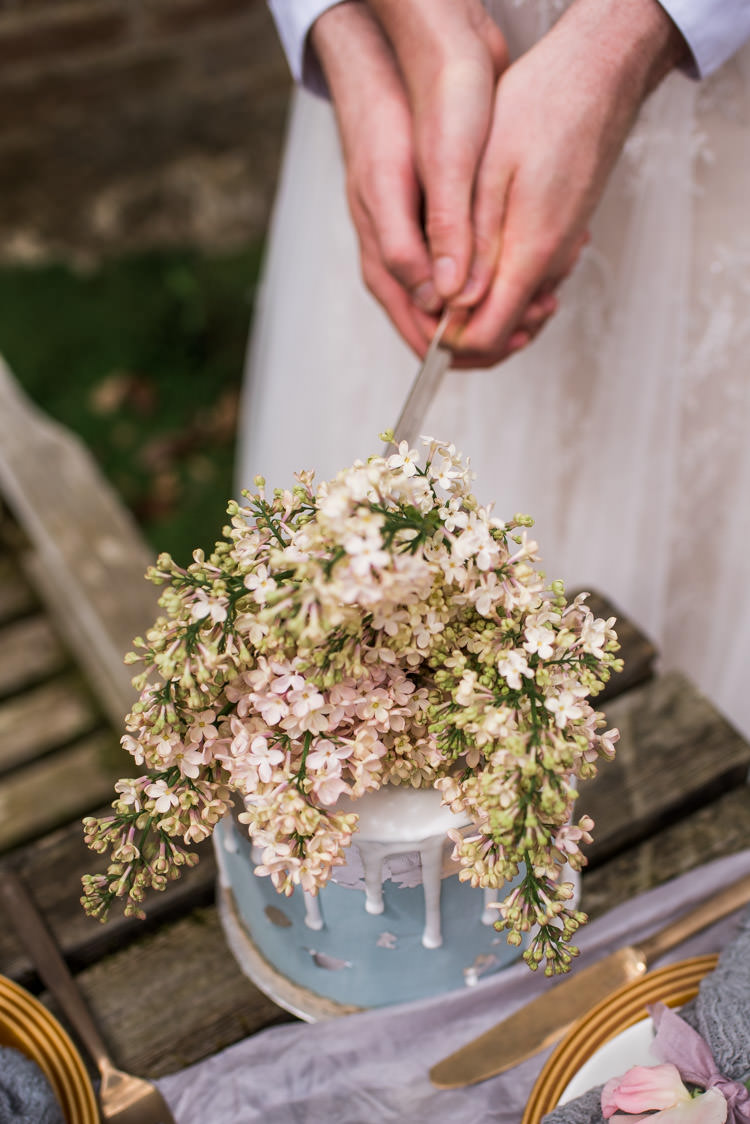 Blue Drip Cake Flowers Topper First Look Wedding Ideas Country Estate Garden http://annamorganphotography.co.uk/