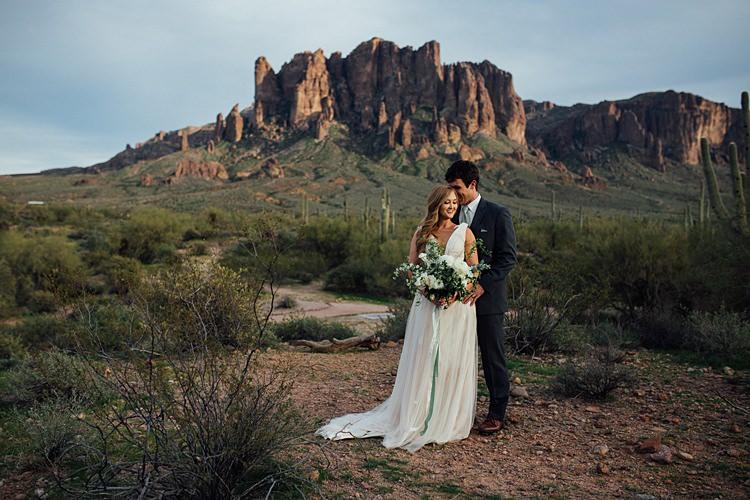 Bride Groom Close Romantic Desert Elopement Ideas http://beginningandendphoto.com/