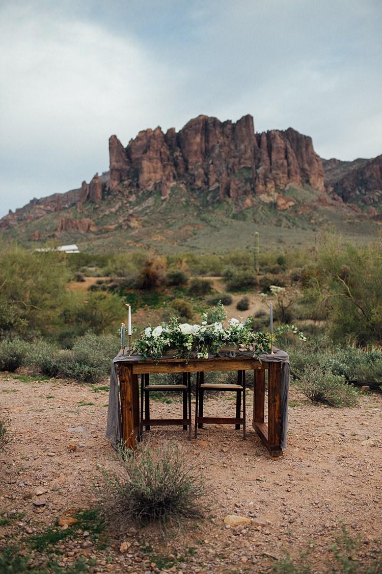 Table Candles Floral Display Romantic Desert Elopement Ideas http://beginningandendphoto.com/
