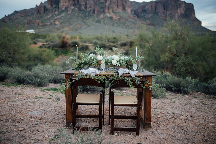 Table Decor Romantic Desert Elopement Ideas http://beginningandendphoto.com/