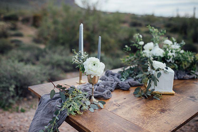 Candles Greenery Centrepiece Table Decor Romantic Desert Elopement Ideas http://beginningandendphoto.com/