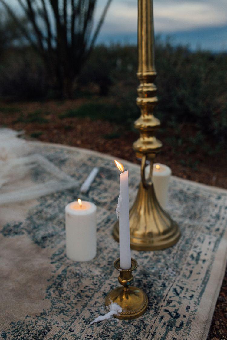 Candles Romantic Desert Elopement Ideas http://beginningandendphoto.com/