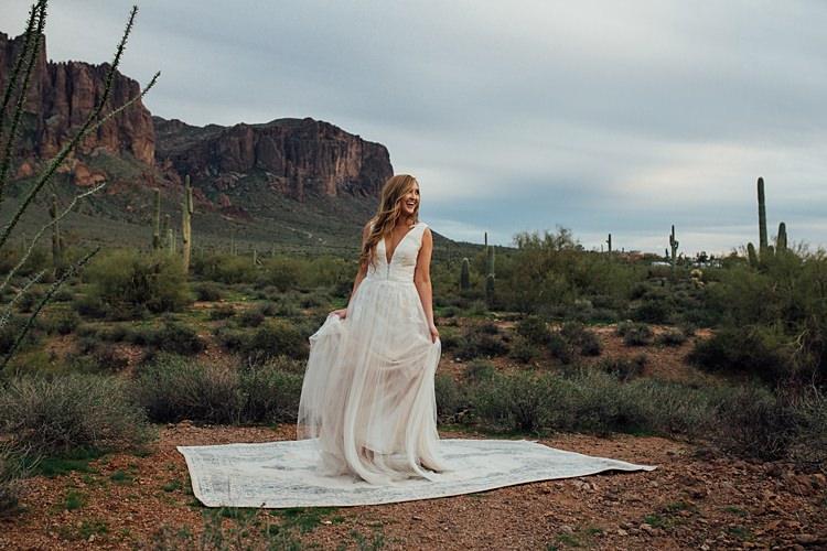 Bride Rug Romantic Desert Elopement Ideas http://beginningandendphoto.com/
