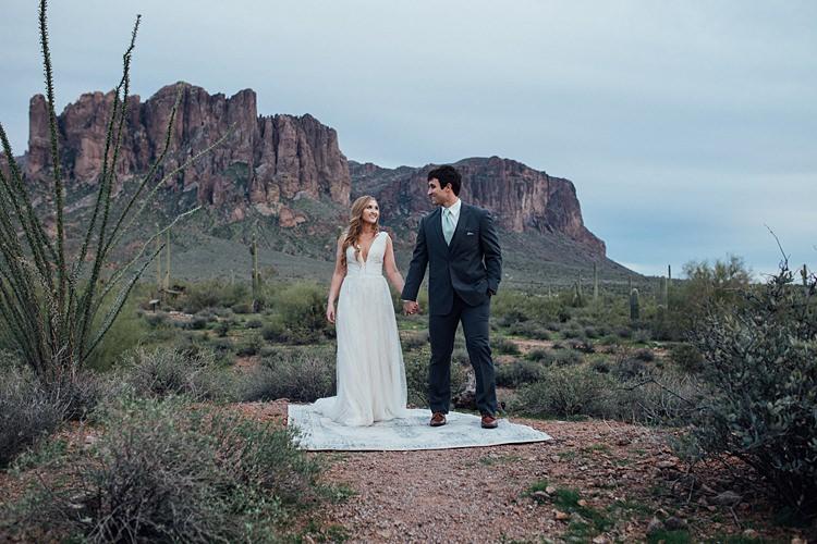 Bride Groom Rug Romantic Desert Elopement Ideas http://beginningandendphoto.com/