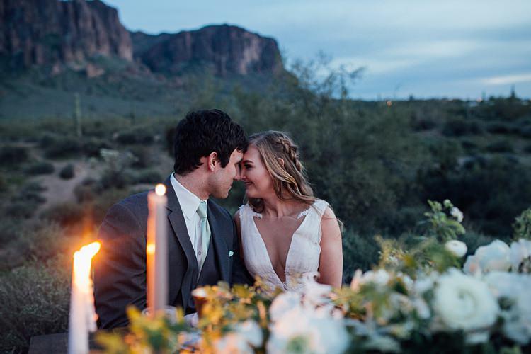 Bride Groom Close Seated Romantic Desert Elopement Ideas http://beginningandendphoto.com/