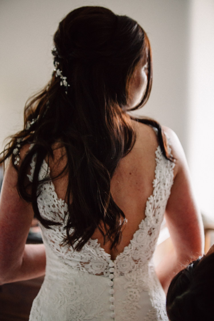 Low V Back Lace Dress Gown Bride Bridal Delightfully Stylish Spring Wedding in the Lake District http://jamiedunnphotography.com/