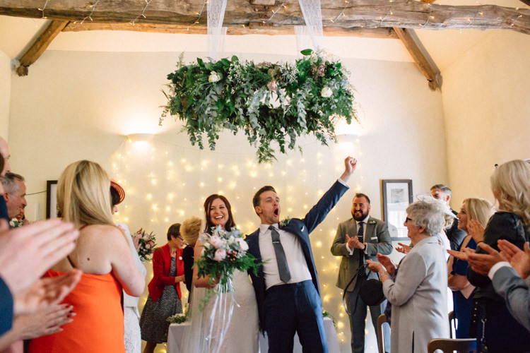 Greenery Foliage Hoop Hanging Flowers Decor Ceremony Delightfully Stylish Spring Wedding in the Lake District http://jamiedunnphotography.com/