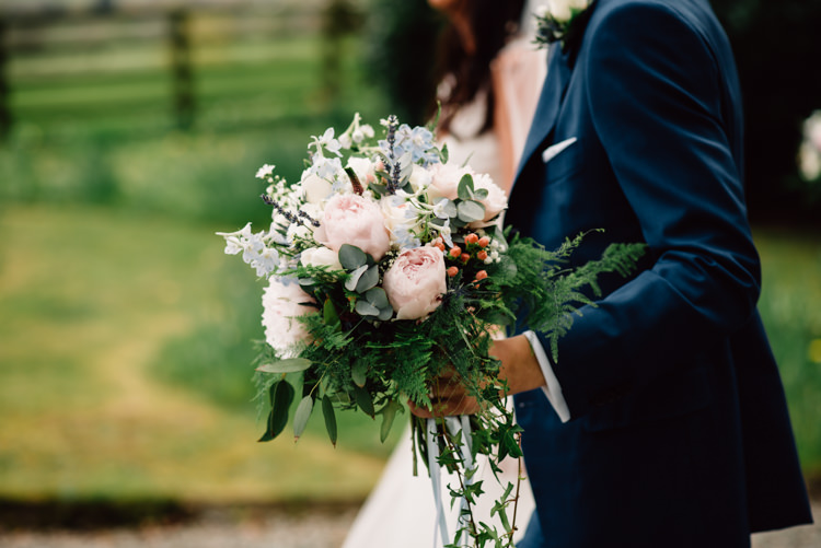 Bouquet Flowers Bride Groom Peony Fern Delightfully Stylish Spring Wedding in the Lake District http://jamiedunnphotography.com/