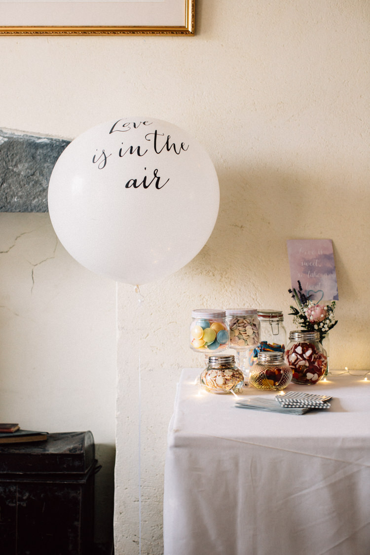Sweets Sweetie Table Balloon Delightfully Stylish Spring Wedding in the Lake District http://jamiedunnphotography.com/