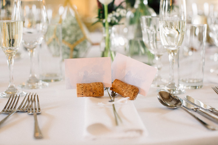Cork Place Name Card Place Setting Delightfully Stylish Spring Wedding in the Lake District http://jamiedunnphotography.com/