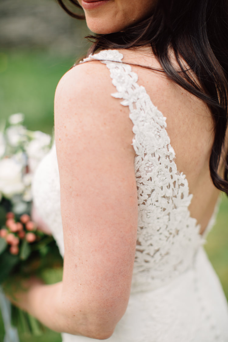 Lace Strap Dress Gown Bride Bridal Buttons Back Delightfully Stylish Spring Wedding in the Lake District http://jamiedunnphotography.com/