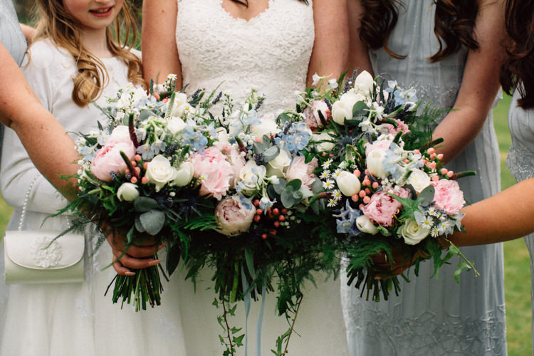 Bridesmaid Flowers Bouquet Pink Blue Cream Peony Rose Delightfully Stylish Spring Wedding in the Lake District http://jamiedunnphotography.com/