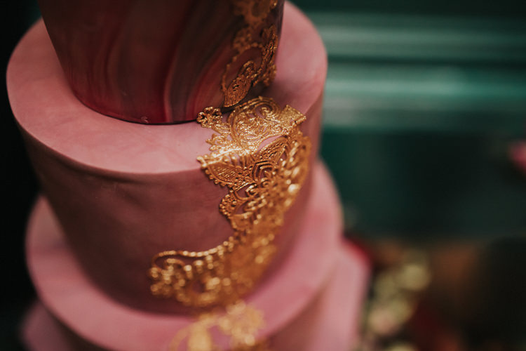 Gold Pink Cake Floral Marble Modern Jewel Tone Asian Fusion Wedding Ideas http://liannegrayphotography.com/