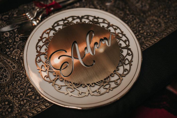 Laser Cut Gold Place Mat Setting Name Modern Jewel Tone Asian Fusion Wedding Ideas http://liannegrayphotography.com/