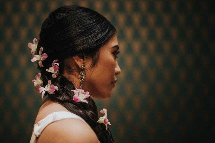 Orchids Bride Bridal Hair Plait Modern Jewel Tone Asian Fusion Wedding Ideas http://liannegrayphotography.com/