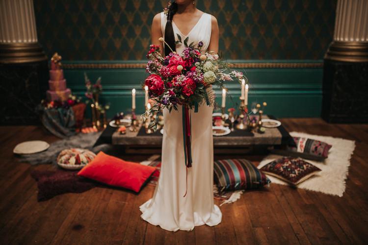 Bouquet Red Marsala Rose Prony Craspedia Bride Bridal Flowers Ribbons Modern Jewel Tone Asian Fusion Wedding Ideas http://liannegrayphotography.com/