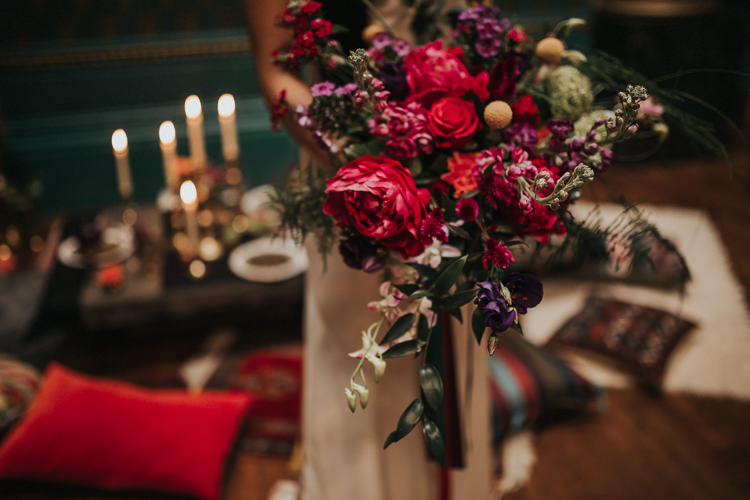 Bouquet Red Marsala Rose Prony Craspedia Bride Bridal Flowers Modern Jewel Tone Asian Fusion Wedding Ideas http://liannegrayphotography.com/