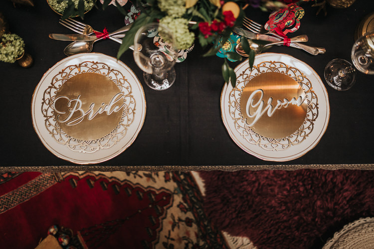 Tablescape Decor Table Candles Flowers Gold Laser Cut Place Mat Settings Modern Jewel Tone Asian Fusion Wedding Ideas http://liannegrayphotography.com/