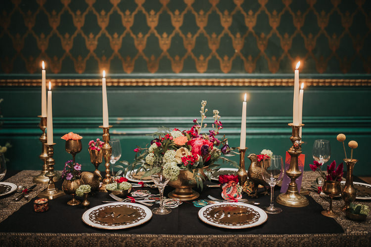 Tablescape Decor Table Candles Flowers Gold Modern Jewel Tone Asian Fusion Wedding Ideas http://liannegrayphotography.com/