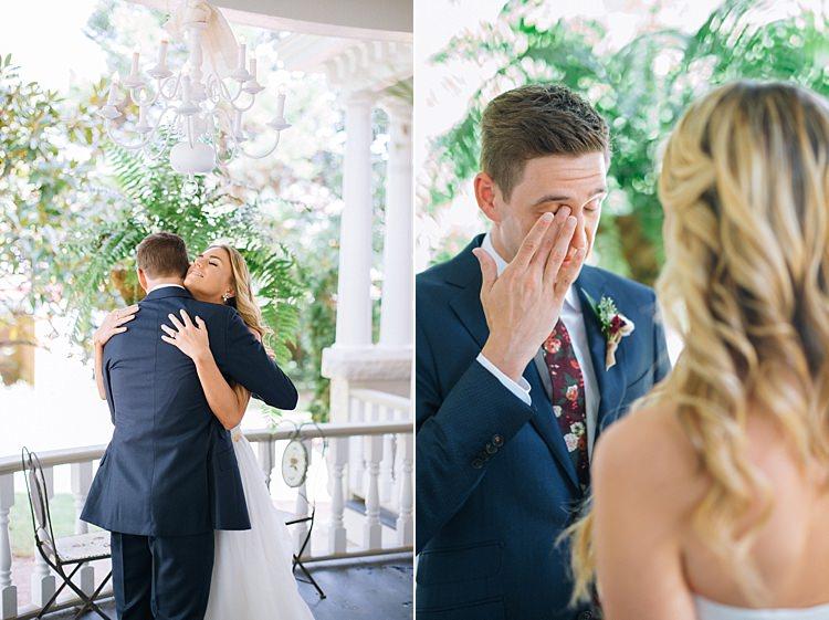 First Look Emotional Groom Tears Bohemian Outdoor Greenery Wedding Georgia http://www.sowingclover.com/