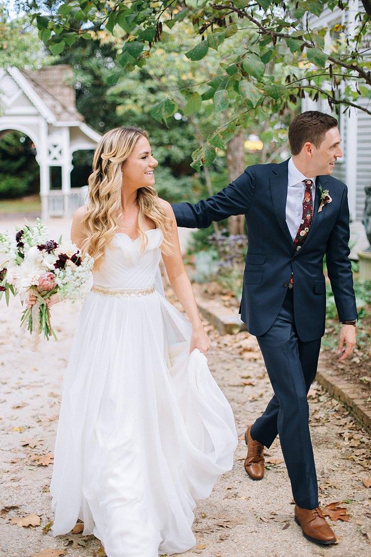 Bride Groom Walking Bohemian Outdoor Greenery Wedding Georgia http://www.sowingclover.com/