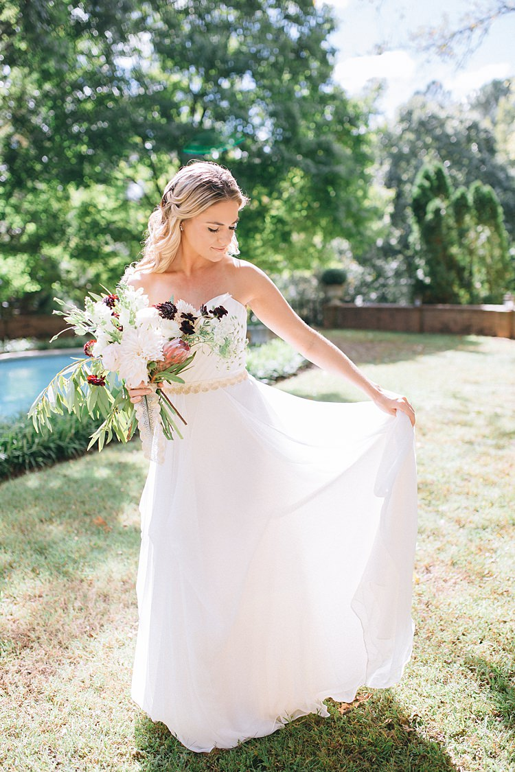 Bride Dress Floaty Ethereal Light Bohemian Outdoor Greenery Wedding Georgia http://www.sowingclover.com/