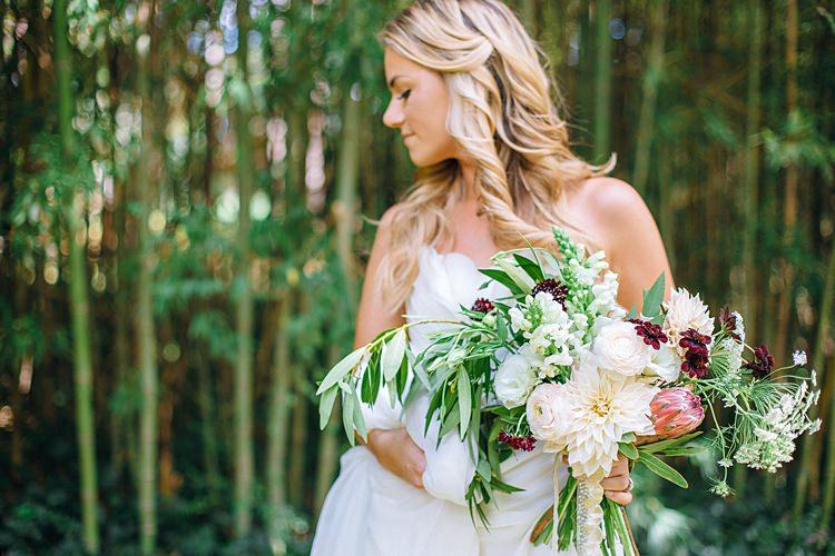 Bride Looking Away Bouquet Bohemian Outdoor Greenery Wedding Georgia http://www.sowingclover.com/