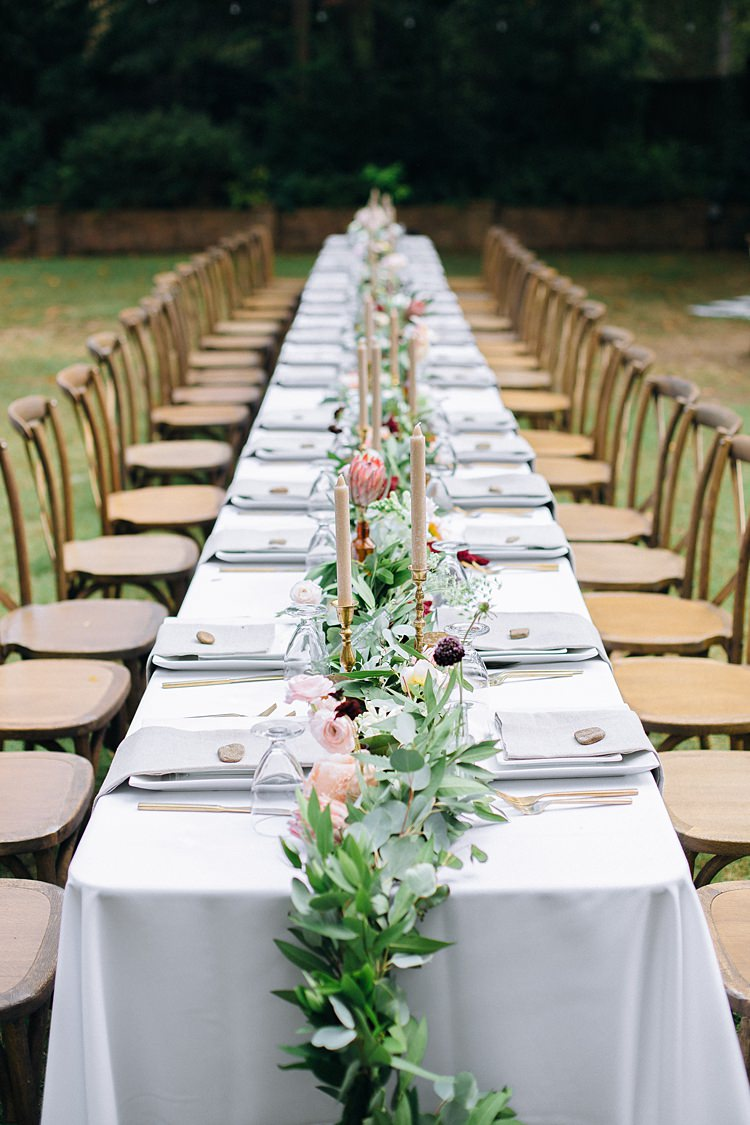 Banquet Table Centre Piece Candles Bohemian Outdoor Greenery Wedding Georgia http://www.sowingclover.com/